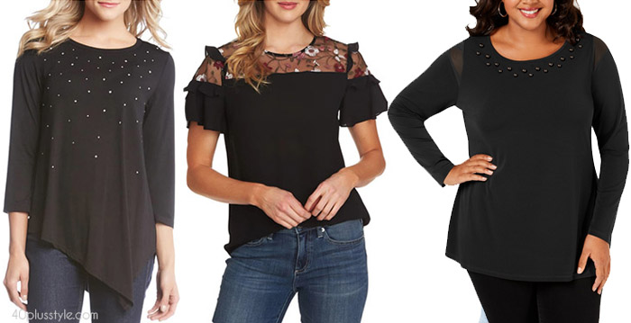 Chic black tops to hide your belly | 40plusstyle.com