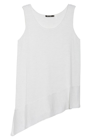 Asymmetrical tops to hide your belly | 40plusstyle.com