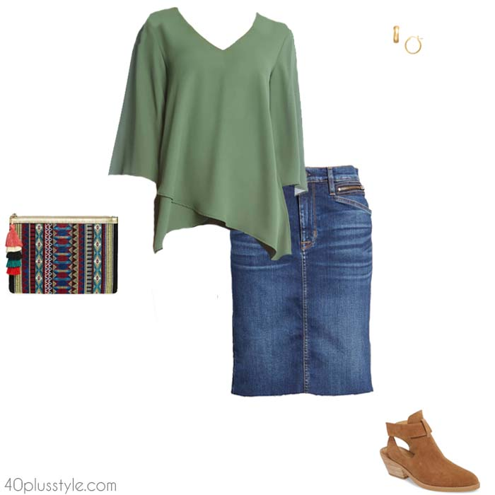Denim skirt and a chic top | 40plusstyle.com