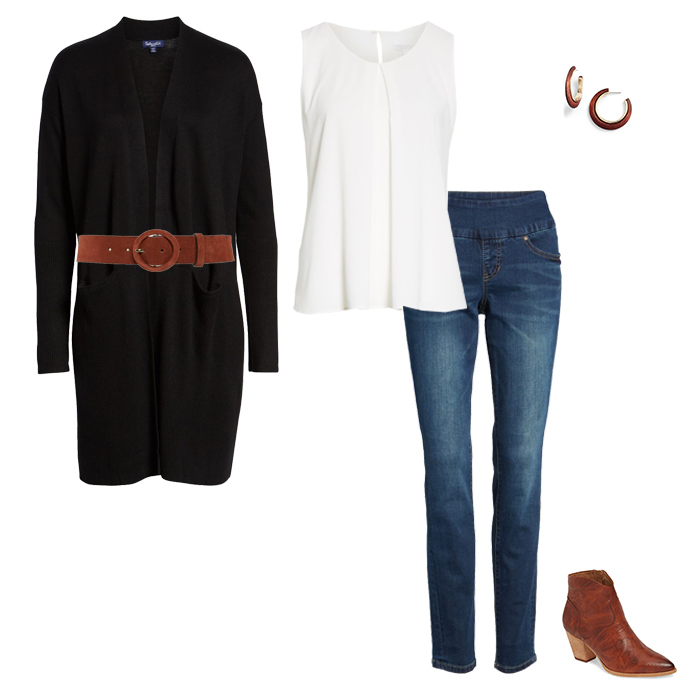 cardigan with belt outfit idea | 40plusstyle.com