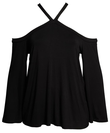 Cold shoulder top to hide your belly | 40plusstyle.com