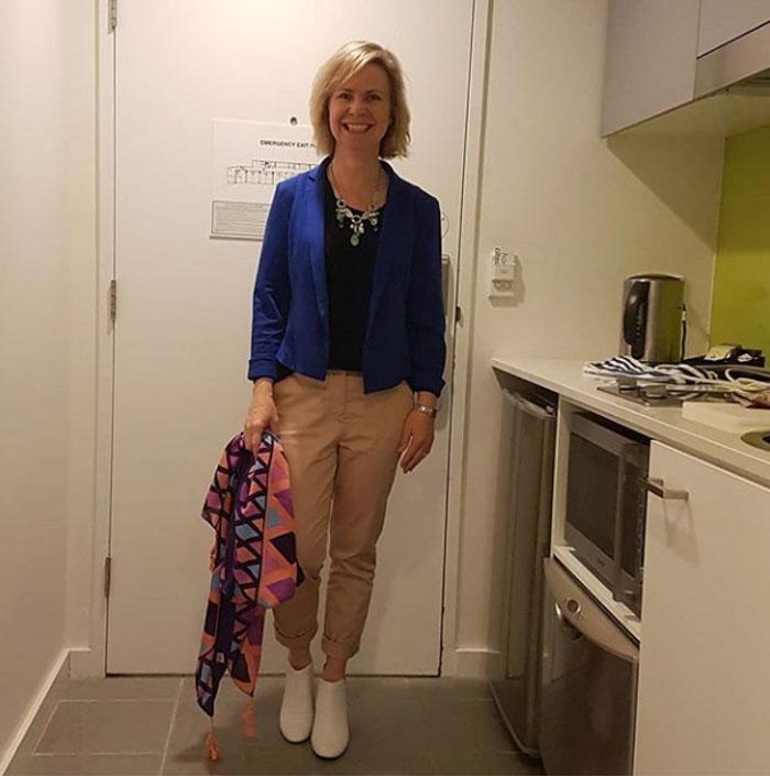 Blue blazer with khaki pants | 40plusstyle.com