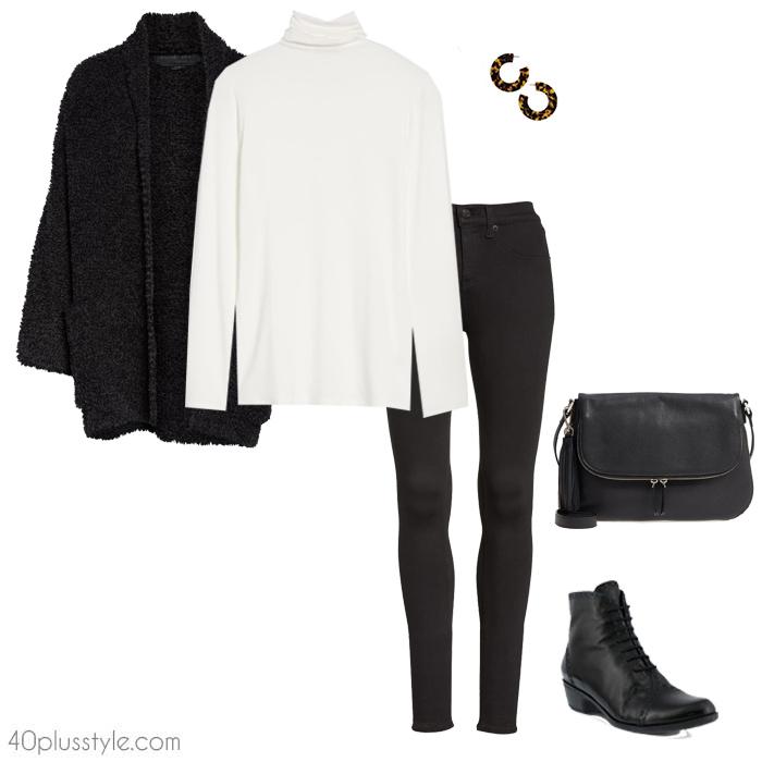 Long cardigan and leggings | 40plusstyle.com