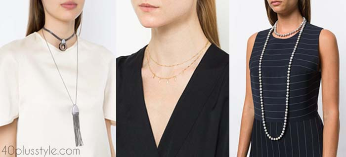 How to layer jewelry - necklaces and necklines | 40plusstyle.com