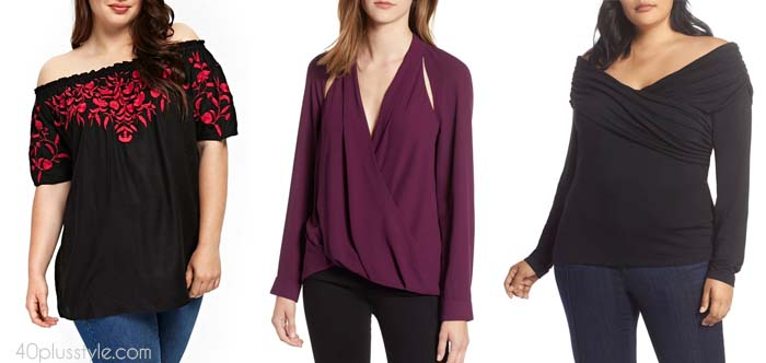 Off shoulder tops for women over 40 | 40plusstyle.com