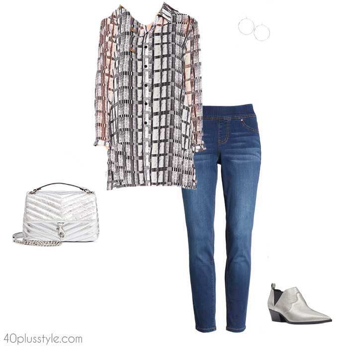Tunic and jeggings outfit | 40plusstyle.com