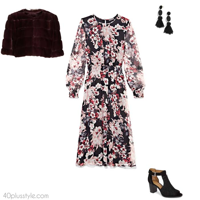 Floral dresses - What to wear to a winter wedding | 40plusstyle.com