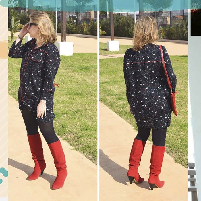 Cone Red Boots and Piping Shirt Dress with Red Bag | 40plusstyle.com
