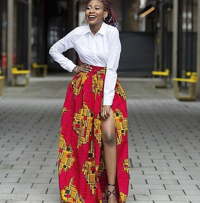 Red African Print Skirt and White Blouse | 40plusstyle.com