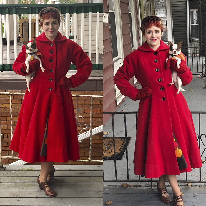 Red Vintage Coat with Red Gloves | 40plusstyle.com