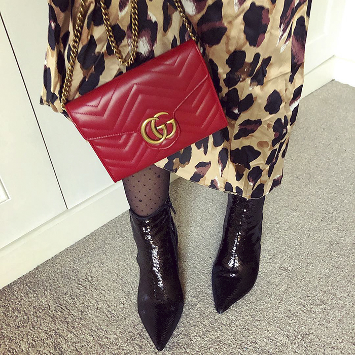 Red Crossbody Bag and Leopard Print Dress with Leather Boots and Polka Dot Tights | 40plusstyle.com