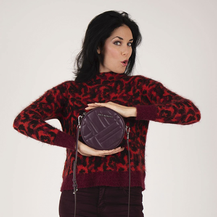 Red leopard print jacket and burgundy crossbody bag   40plusstyle.com