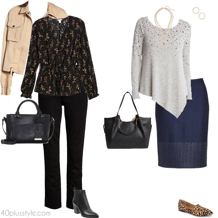 Outfit ideas for the apple body shape | 40plusstyle.com
