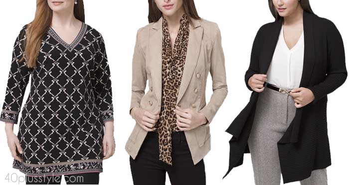 Tops and jackets for women with the apple body shape | 40plusstyle.com