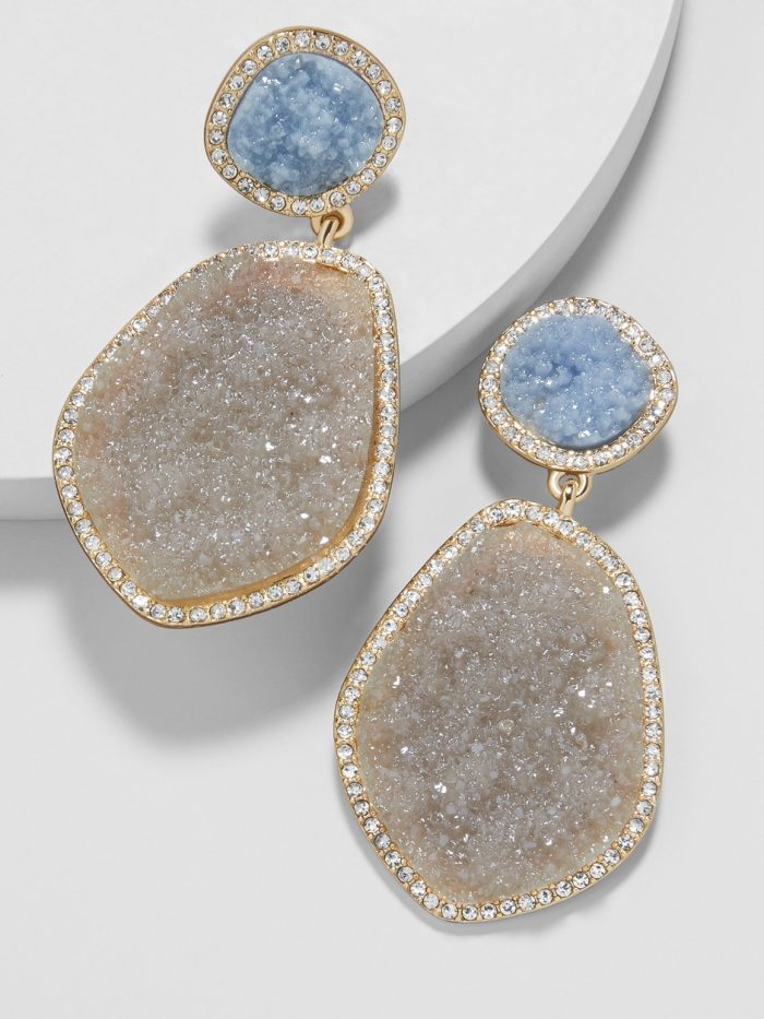 Two tone statement earrings | 40plusstyle.com
