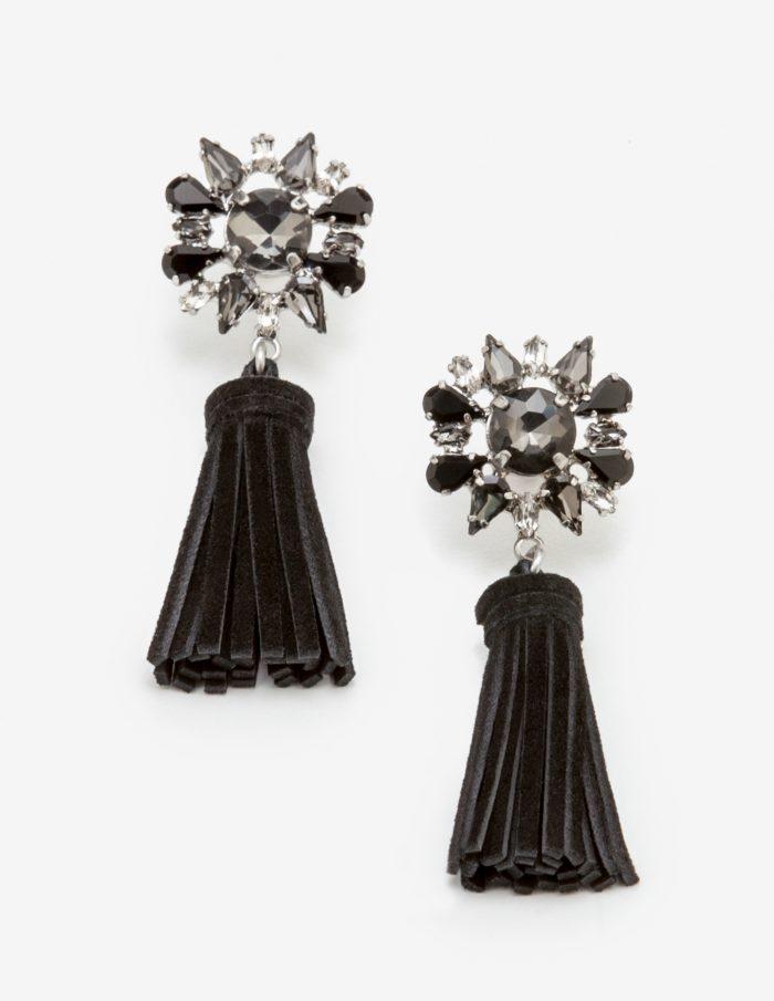Black tassel statement earrings | 40plusstyle.com