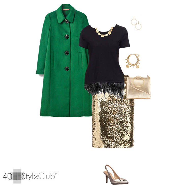 Sequin skirt and a colored coat outfit | 40plusstyle.com