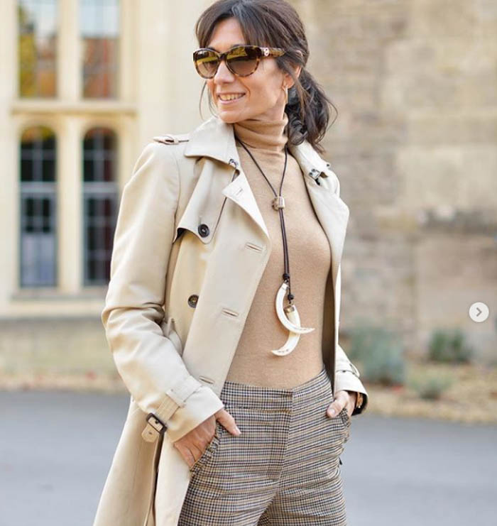 Neutral coats with plaid pants | 40plusstyle.com