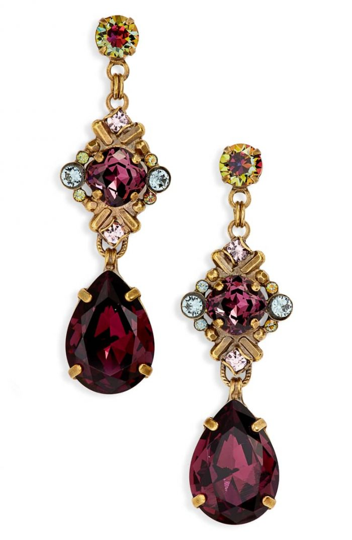 Drop earrings in deep red and gold tones | 40plusstyle.com