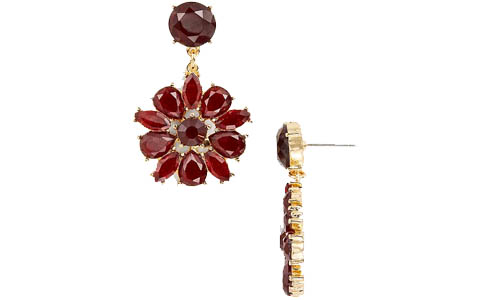 Poinsettia flower statement earrings | 40plusstyle.com