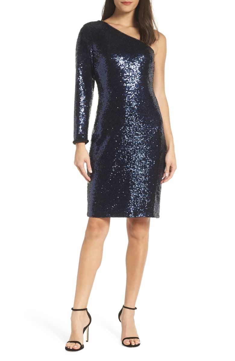 One shoulder sequin dress in navy | 40plusstyle.com
