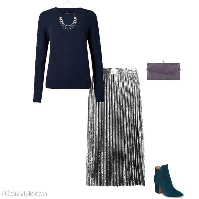 Metallic skirt looks as a christmas party outfit | 40plusstyle.com - How To Dress For A Christmas Party