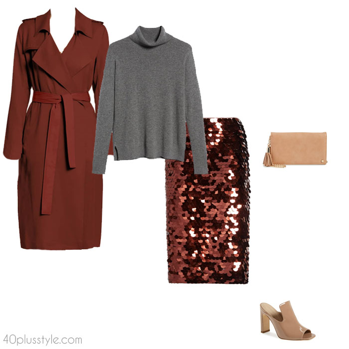 Sequined skirt christmas party outfit | 40plusstyle.com