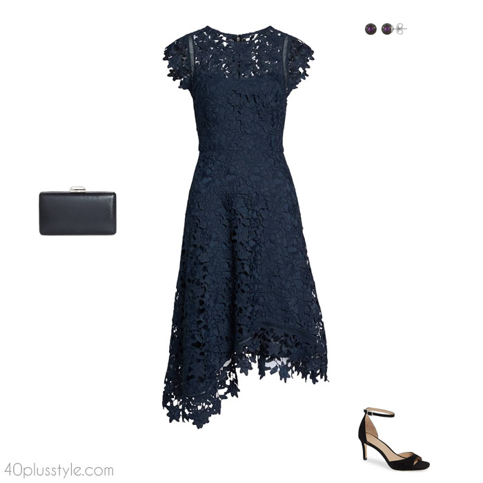 Lace christmas party outfit   40plusstyle.com