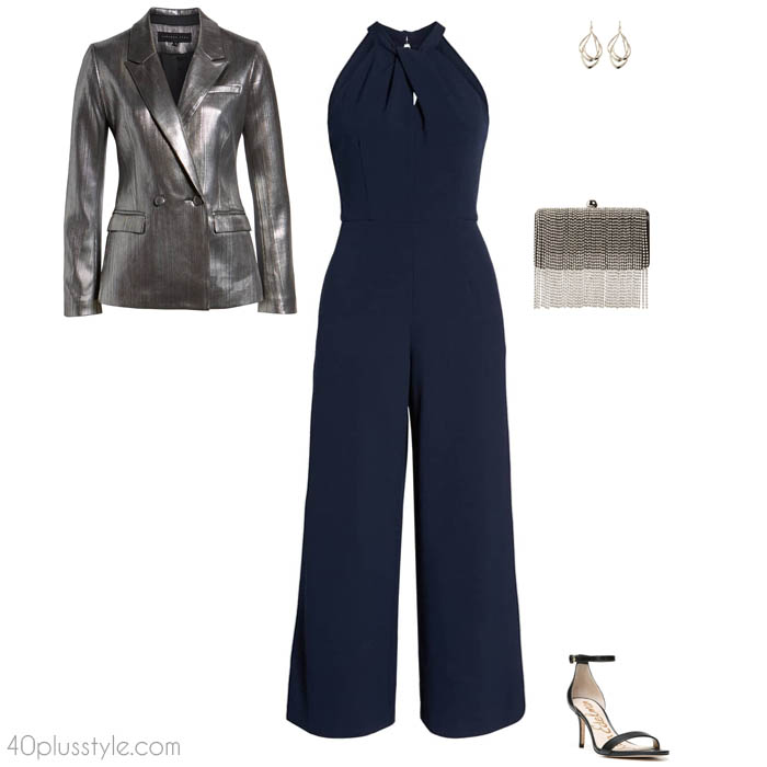 Metallic blazer and a navy jumpsuit outfit | 40plusstyle.com