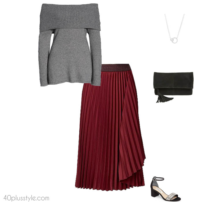 Pleated skirt with off shoulder sweater | 40plusstyle.com