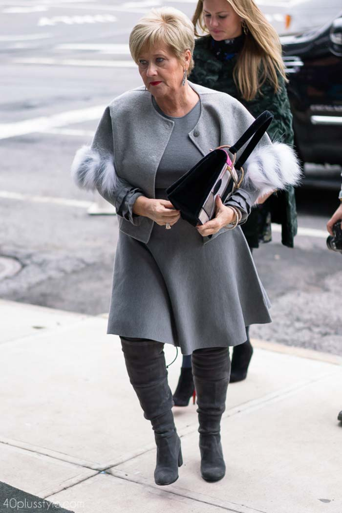 Fur trimmed grey coat with high knee boots | 40plusstyle.com