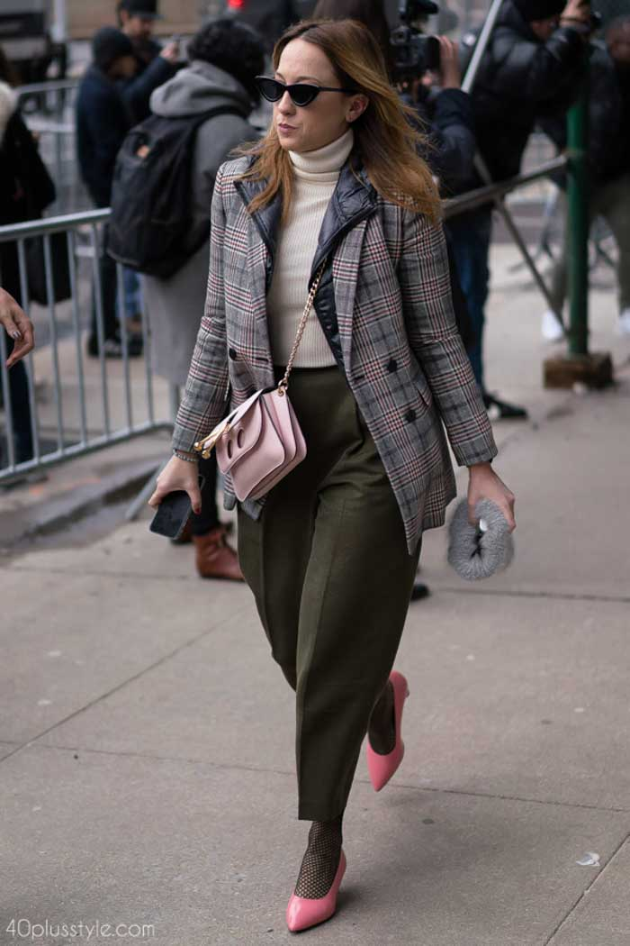 Chic plaid coat with pink shoes and olive pants | 40plusstyle.com