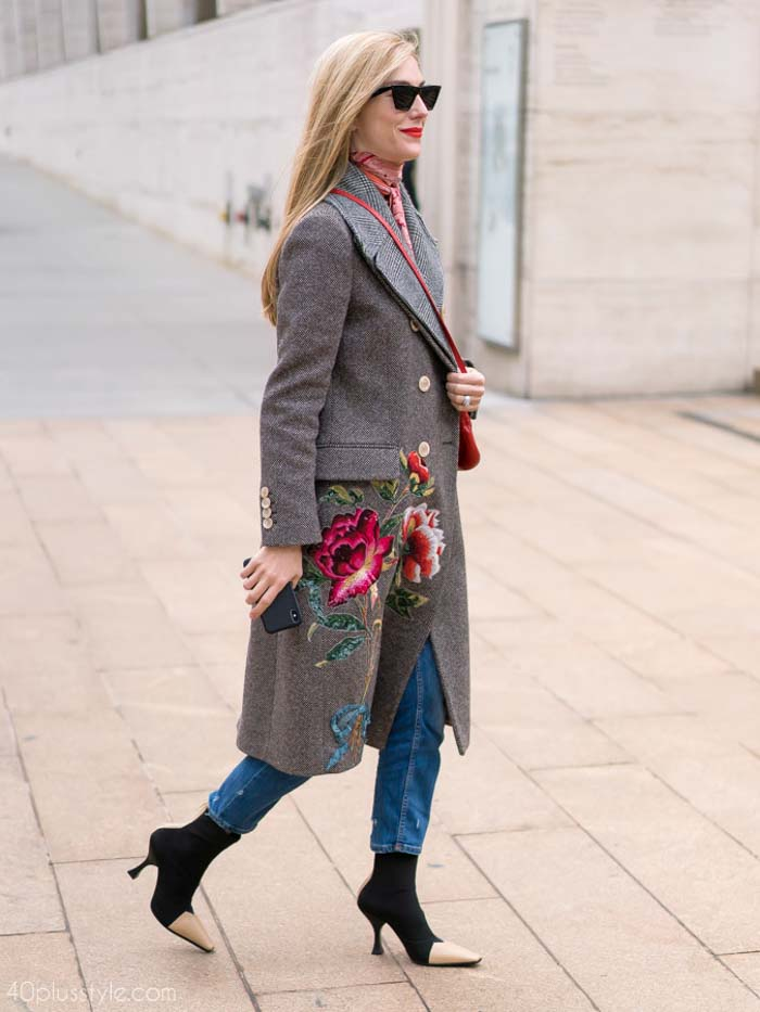 Floral embroidered coat paired with denim jeans | 40plusstyle.com