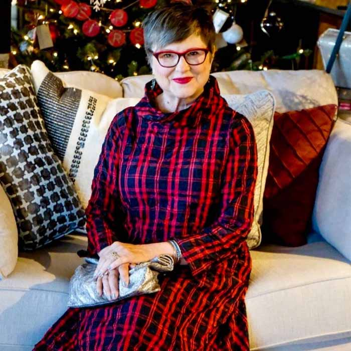 Checkered Red Dress with Grey Accessories and Red Eye Glass   40plusstyle.com