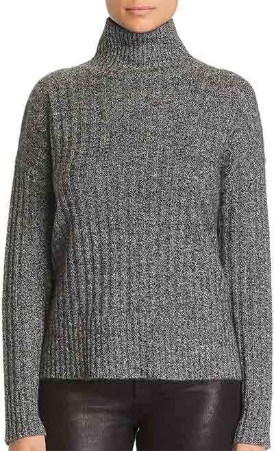 Donegal Cashmere Rib-Knit Turtleneck Sweater | 40plusstyle.com