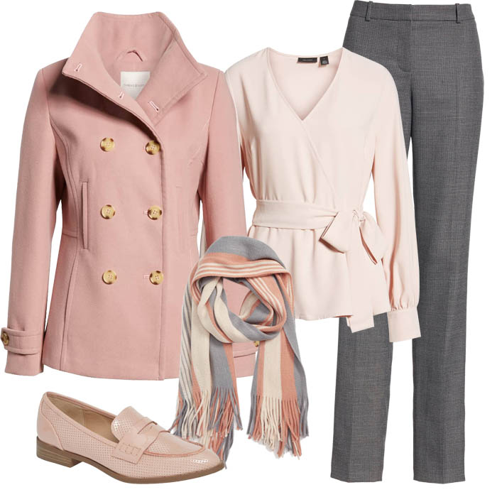 Grey wrap front coat over pink top with pink scarf and grey pants | 40plusstyle.com