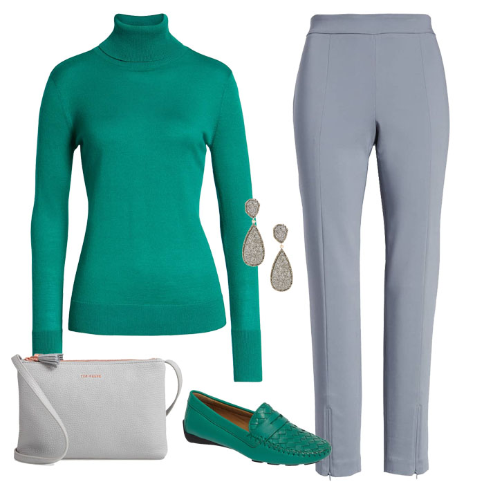 Green Turtle neck and Grey pull-on pants | 40plusstyle.com