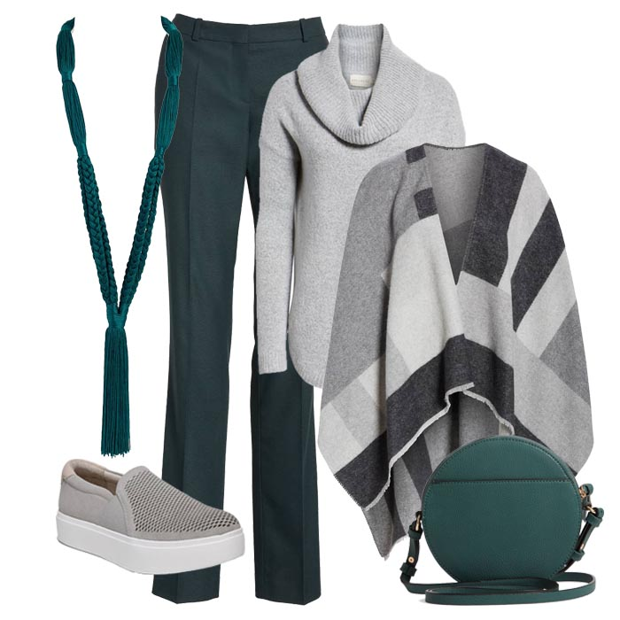 grey sweater over grey poncho tops with green pants | 40plusstyle.com