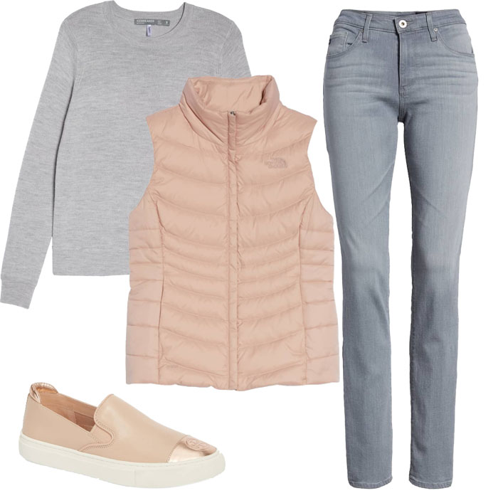 Grey sweater over pink vest and pants | 40plusstyle.com