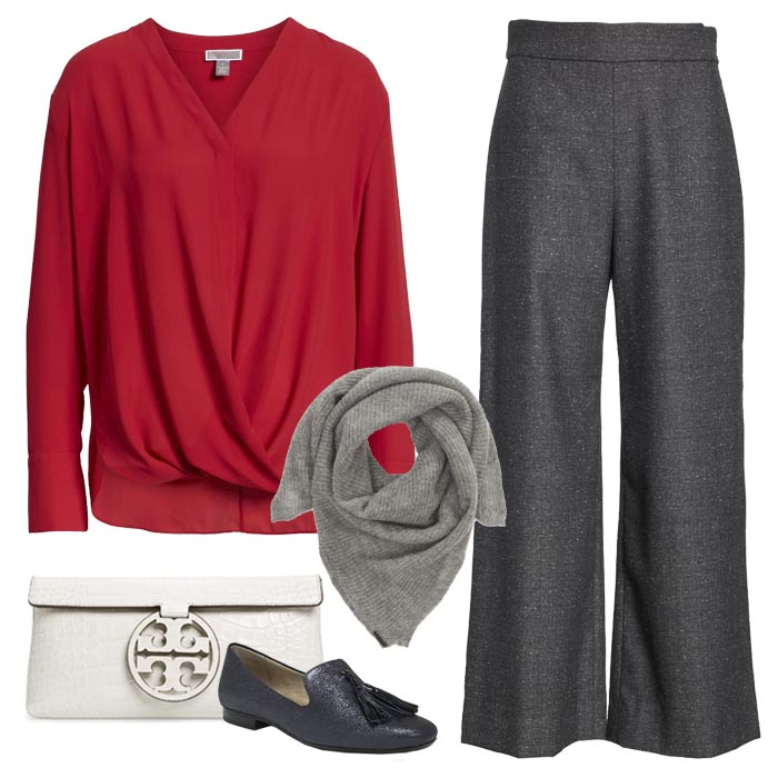 Red Blouse with grey scarf and Grey Pants | 40plusstyle.com