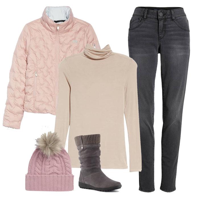 Pink turtleneck sweatshirt over pink jack and grey pants | 40plusstyle.com