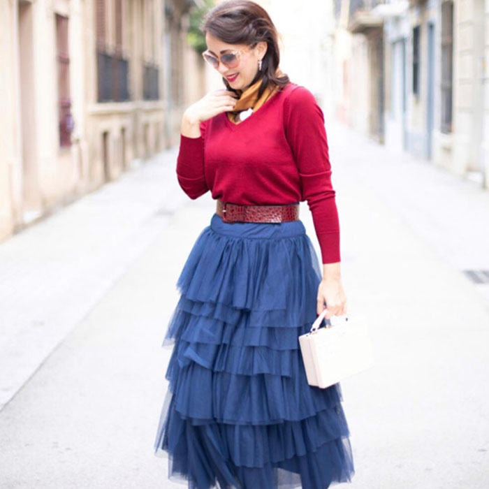 Red Cashmere Jacket with Blue Skirt and white bag   40plusstyle.com
