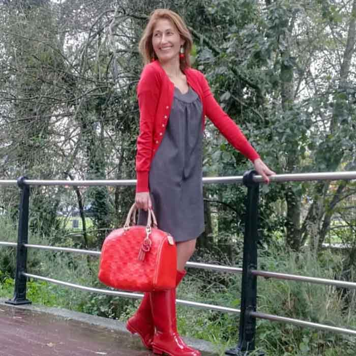 Red Jacket over Grey Dress with Red Bag and Boots   40plusstyle.com