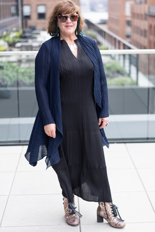 Wearing black with navy | 40plusstyle.com
