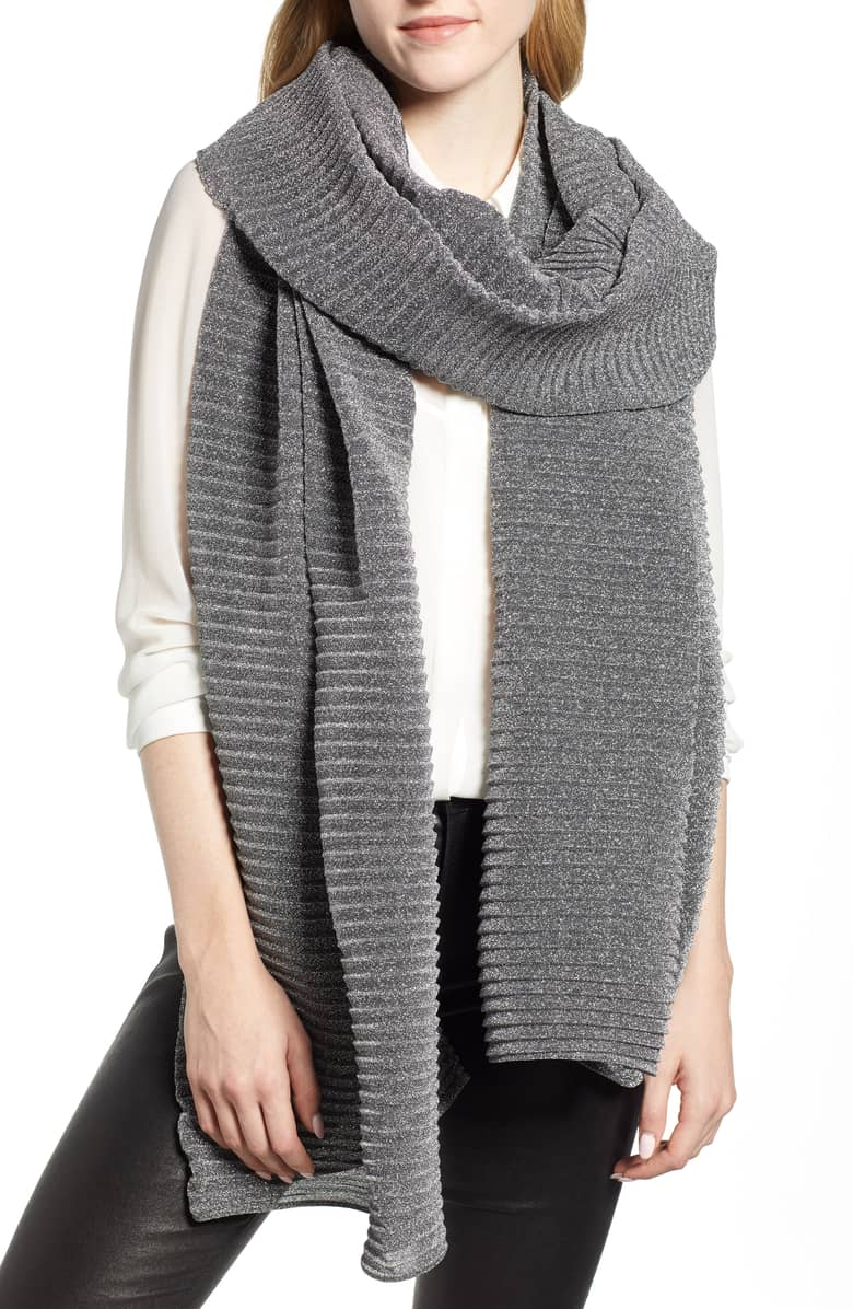 Gray textured scarf   40plusstyle.com