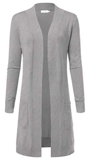 ARC Studio Women's Solid Soft Stretch Longline Long Sleeve Open Front gray Cardigan | 40plusstyle.com