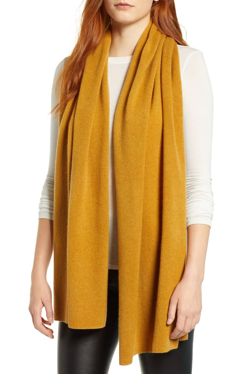 Yellow scarf for a bright winter look | 40plusstyle.com