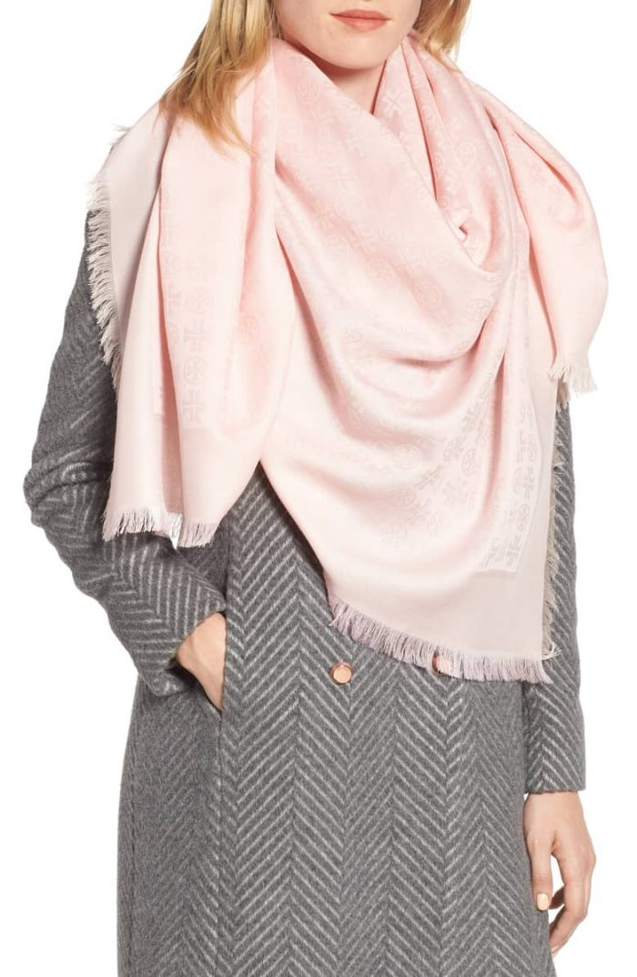 Pastel pink scarf with a gray outfit | 40plusstyle.com