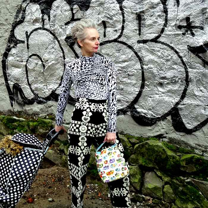 Melanie is wearing Printed fabric pants and Spirography turtleneck   fashion over 40   40plusstyle