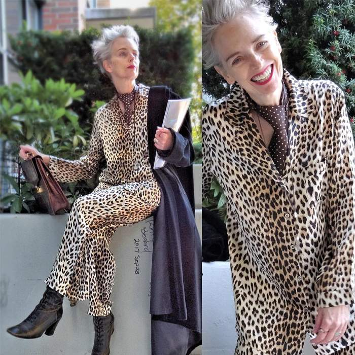 Melanie is wearing Animal Print Pajama Suit with chocolate polka dot tie and boots   fashion over 40   40plusstyle